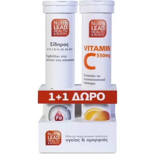 Nutralead Πακέτο Προσφοράς Σίδηρος 14 mg με βιταμίνες C & Β6, Β9, Β12 20Αναβρ.Δισκία + Βιταμίνη C 550mg - Πορτοκάλι 20Αν.Δισκία