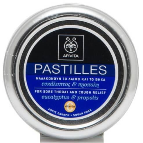 Pastilles For Sore Throat & Cough Relief With Eucalyptus & Propolis 45g - Apivita