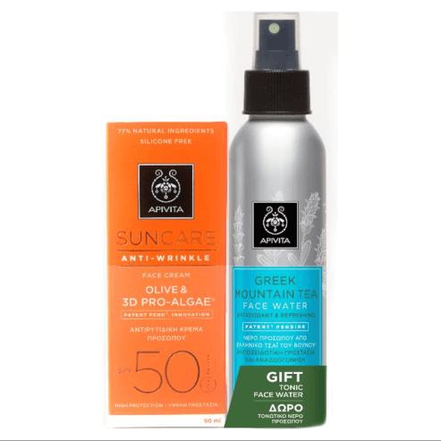 Πακέτο Προσφοράς Suncare Anti-Wrinkle Olive 3D & Pro-Algae Spf50, 50ml & MountainTea 100ml - Apivita