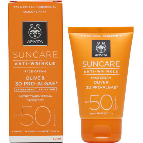Suncare Anti-Wrinkle Face Cream With Olive & 3D Pro-Algae Spf50, 50ml - Apivita