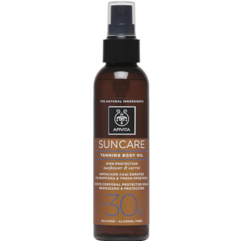 Suncare Tanning Body Oil With Sunflower & Carrot Spf30, 150ml - Apivita