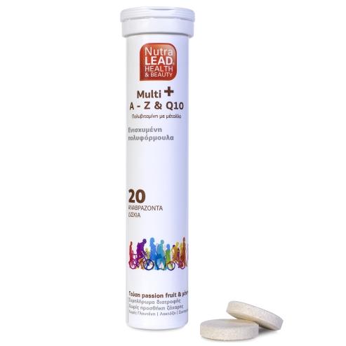 Nutralead Multi+ A to Z & Q10 Πολυβιταμίνη Ενισχυμένη Πολυφόρμουλα για Ενέργεια, Τόνωση και Ευεξία 20Αναβρ.Δισκία
