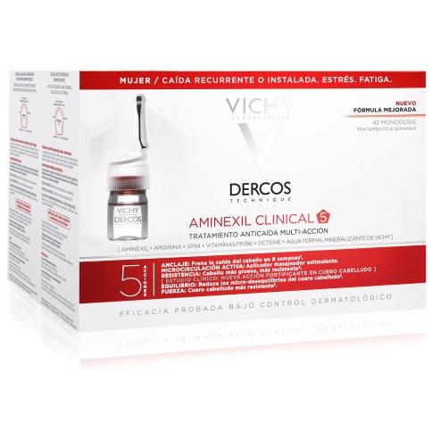 Vichy Dercos Aminexil Clinical 5 Femme Για Την Γυναικεία Τριχόπτωση 42 Μονοδόσεις X 6ml