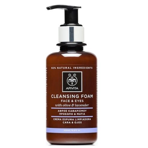 Apivita Cleansing Κρεμώδης Αφρός Καθαρισμού Για Πρόσωπο Και Μάτια Με Ελιά Και Λεβάντα 200ml