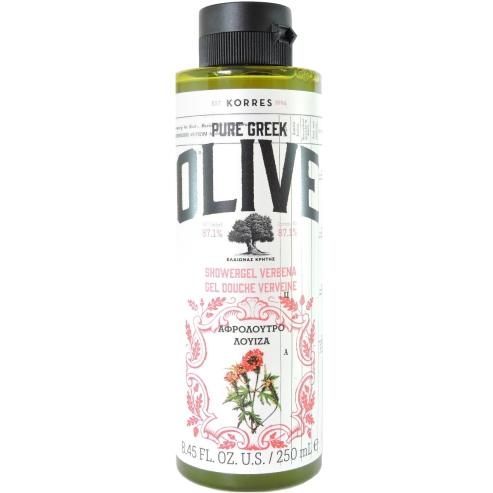 Korres Pure Greek Olive Shower Gel Verbena Αφρόλουτρο με Εκχύλισμα Φύλλων Βιολογικής Ελιάς & Άρωμα Λουίζα 250ml