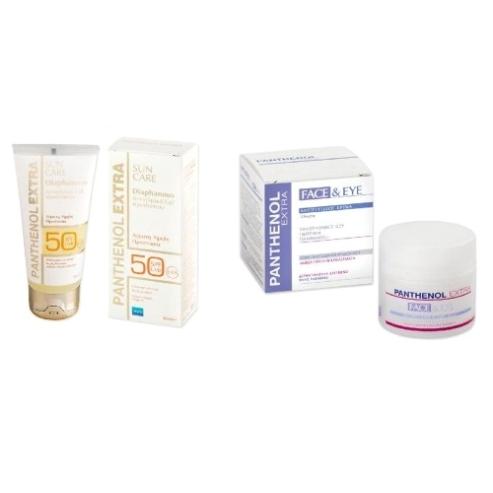 Medisei Panthenol Extra Πακέτο Προσφοράς Diaphanous SunFace Gel Spf50 Αντηλιακή 50ml +Δώρο Αντιρυτιδική Προσώπου Ματιών 50ml