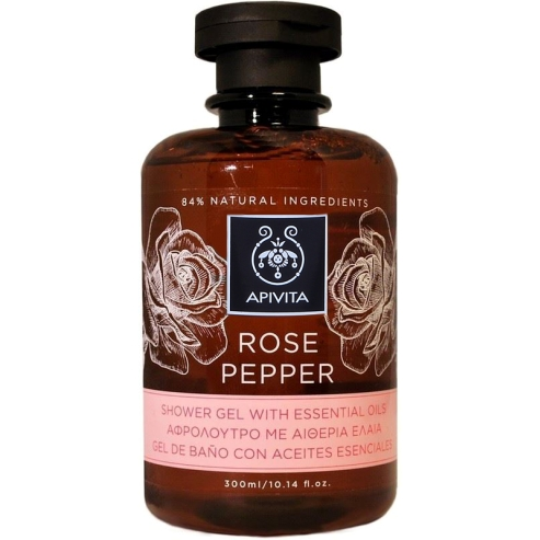 Rose Pepper Shower Gel With Essential Oils 300ml - Apivita