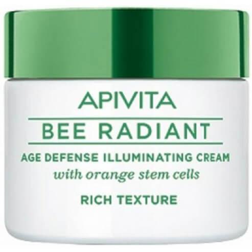 Apivita Bee Radiant Κρέμα Αντιγήρανσης και Λάμψης, Πλούσια Υφή με Bλαστοκύτταρα Πορτοκαλιού 50ml