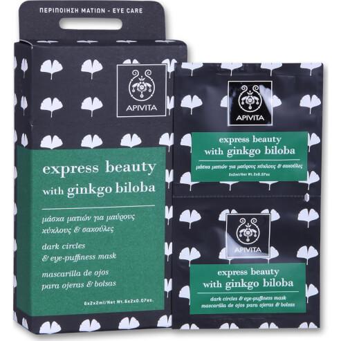 Apivita Express Beauty Μάσκα Ματιών Για Μαύρους Κύκλους Και Σακούλες Με Γκίνγκο 2x2ml
