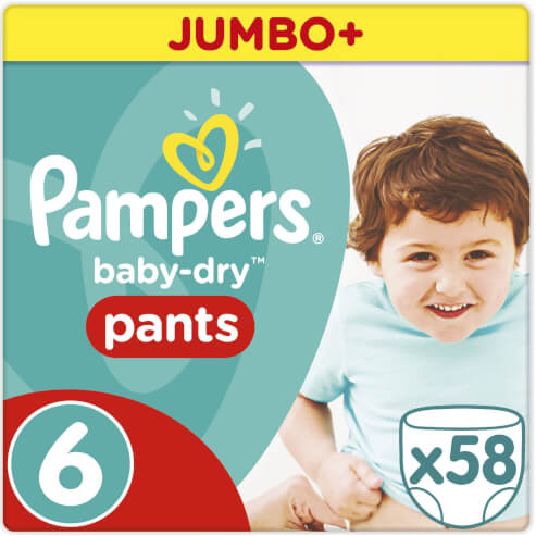 Pampers Baby Dry Pants No6 Jumbo Plus (16+kg) Extra Large 58 πάνες