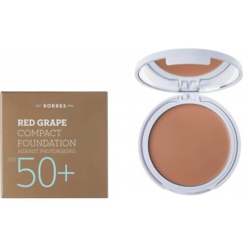 Korres Κόκκινο Σταφύλι Compact Foundation Spf50+ Αντηλιακό Make-up σε Mορφή Compact Κατά της Φωτογήρανσης Απόχρωση Medium 8gr