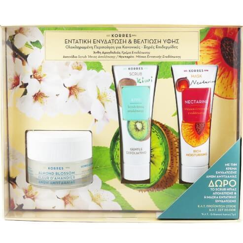 Korres Πακέτο Προσφοράς Almond Blossom Cream Κανονικές-Ξηρές Επιδερμίδες 40ml & Δώρο Kiwi Scrub 18ml & Nectarine Mask 18ml