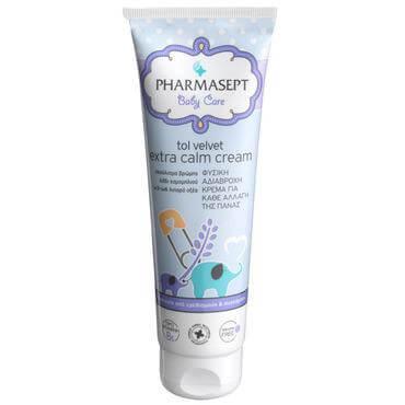 Pharmasept Tol Velvet Baby Extra Calm Cream Φυσική Kρέμα Kαταπράυνσης των Ερεθισμών, Ενυδατώνει το Ευαίσθητο Δέρμα 150ml