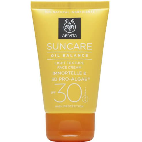 Δώρο Apivita Suncare Oil Balance Light Texture Face Cream Αντηλιακή Κρέμα Προσώπου Spf30 με Eλίχρυσο & 3D PRO-ALGAE® 50ml