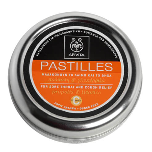 Pastilles For Sore Throat & Cough Relief With Propolis & Licorice 45g - Apivita