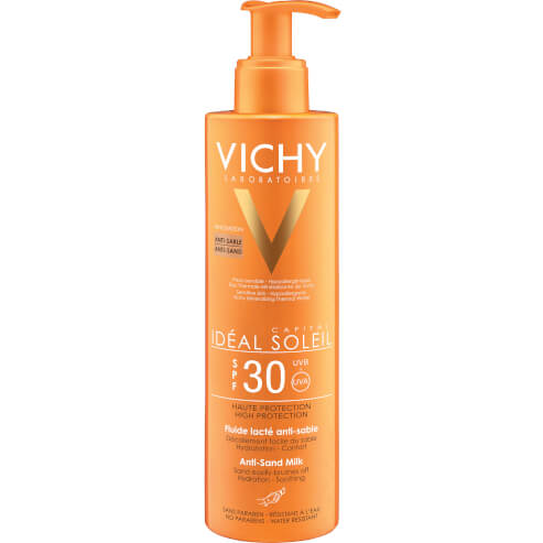 Vichy Ideal Soleil Anti Sand Spf30 Αντηλιακό Γαλάκτωμα Υψηλής Προστασίας για την Ευαίσθητη Επιδερμίδα Προσώπου Σώματος 200ml
