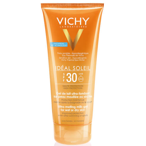 Vichy Ideal Soleil Spf30 Απαλό Αντηλιακό Γαλάκτωμα Gel για τη Προστασία της Νωπής ή Στεγνής Επιδερμίδας του Σώματος 200ml