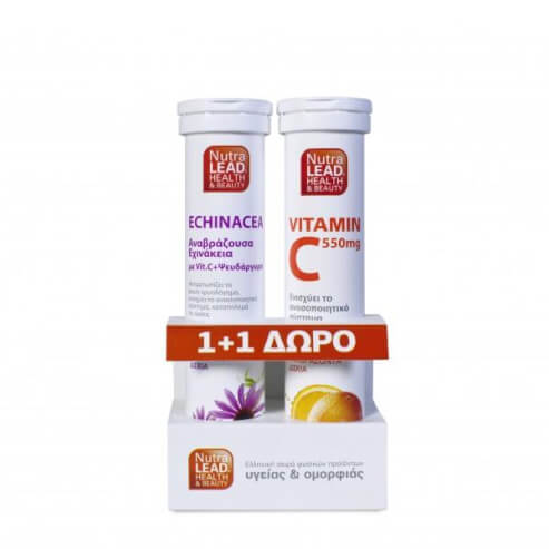 NutraLead Εχινάκεια Με Vit.C & Ψευδάργυρο Αναβρ. Βιταμίνη με Ευχάριστη Γεύση Λεμόνι 20 eff.tabs & ΔΩΡΟ Βιταμίνη C 550mg 20eff.