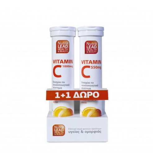 NutraLead Βιταμίνη C 1000mg με Γεύση Πορτοκάλι 20eff.tabs & ΔΩΡΟ NutraLead Βιταμίνη C 550mg με Γεύση Πορτοκάλι, 20 eff.tabs